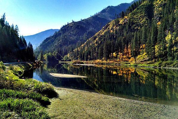 River running through mountains, Wenatchee Region, Leavenworth Washington