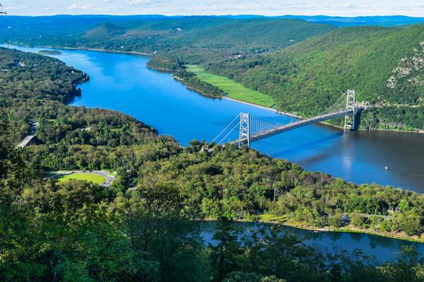 Aerial view of the Hudson River, Westchester region, New York