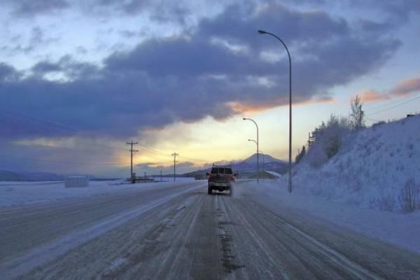 Snow covered highway in Whitehorse.