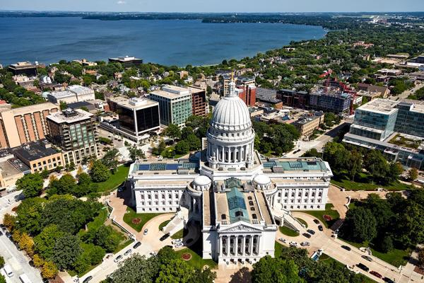 The Wisconsin state capitol building overlooks the city of Madison