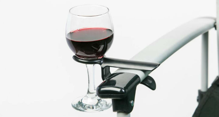 Camp chair wine glass holder