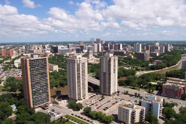 View over downtown Winnipeg from the 55 Nassau building.