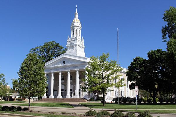 The Lawrence Memorial Chapel stands tall at the Lawrence University in Appleton, Wisconsin