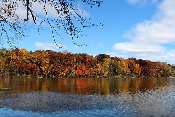 Beautiful autumn colours paint the trees on the shores of Fox River in Appleton, Wisconsin