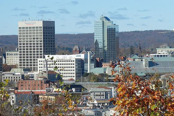 Downtown Worcester looking fresh on an autumn day in Massachusetts