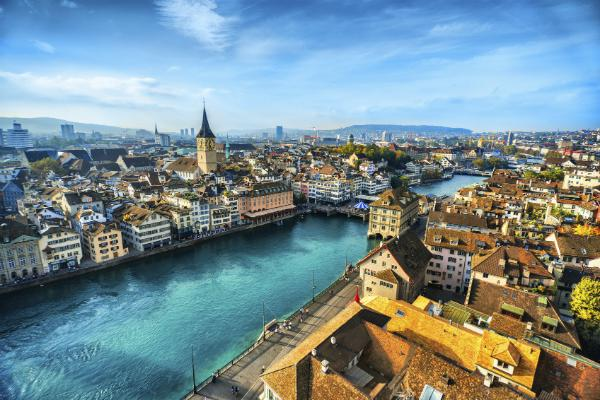 beautiful Zurich flanks the Limmat River
